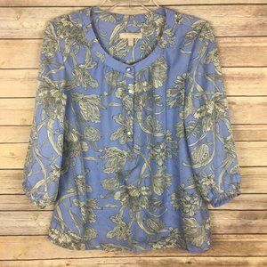 Banana Republic Small Blue Gray Floral Blouse